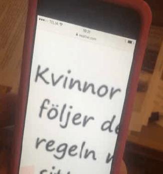 Smrtphone med text på skärm