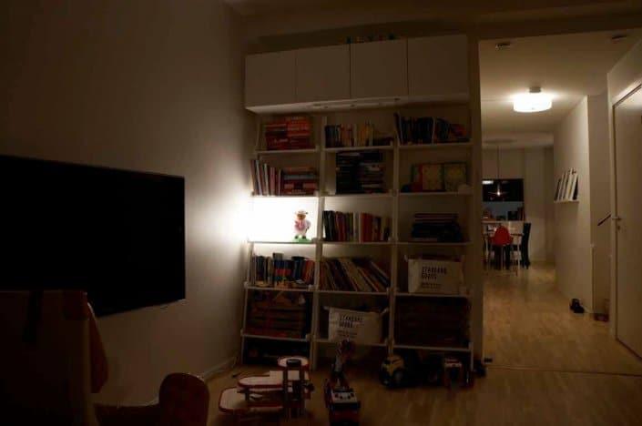 Mörkt rum med mörk bokhylla