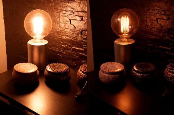 Bländande och ej bländande lampa