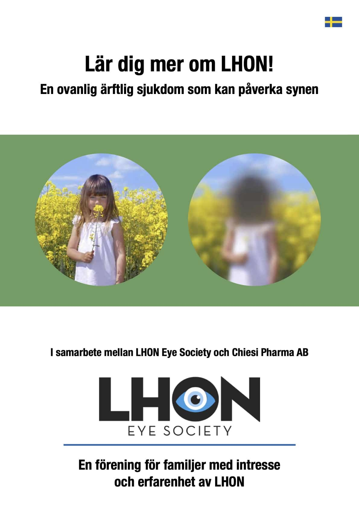 Omslag på broschyr från LHON Eye Society. En flicka syns i två olika cirklar, en cirkel är suddig i mitten och en är skarp.